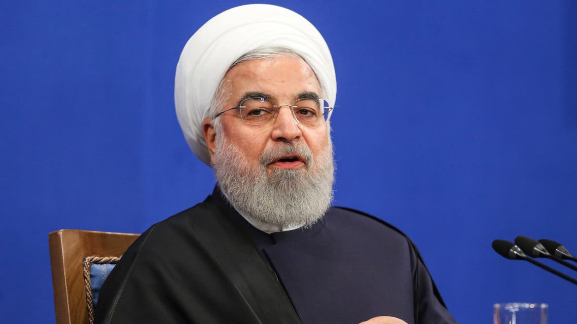 Iranian President Hassan Rouhani speaks during a news conference in the capital Tehran, on February 16, 2020.