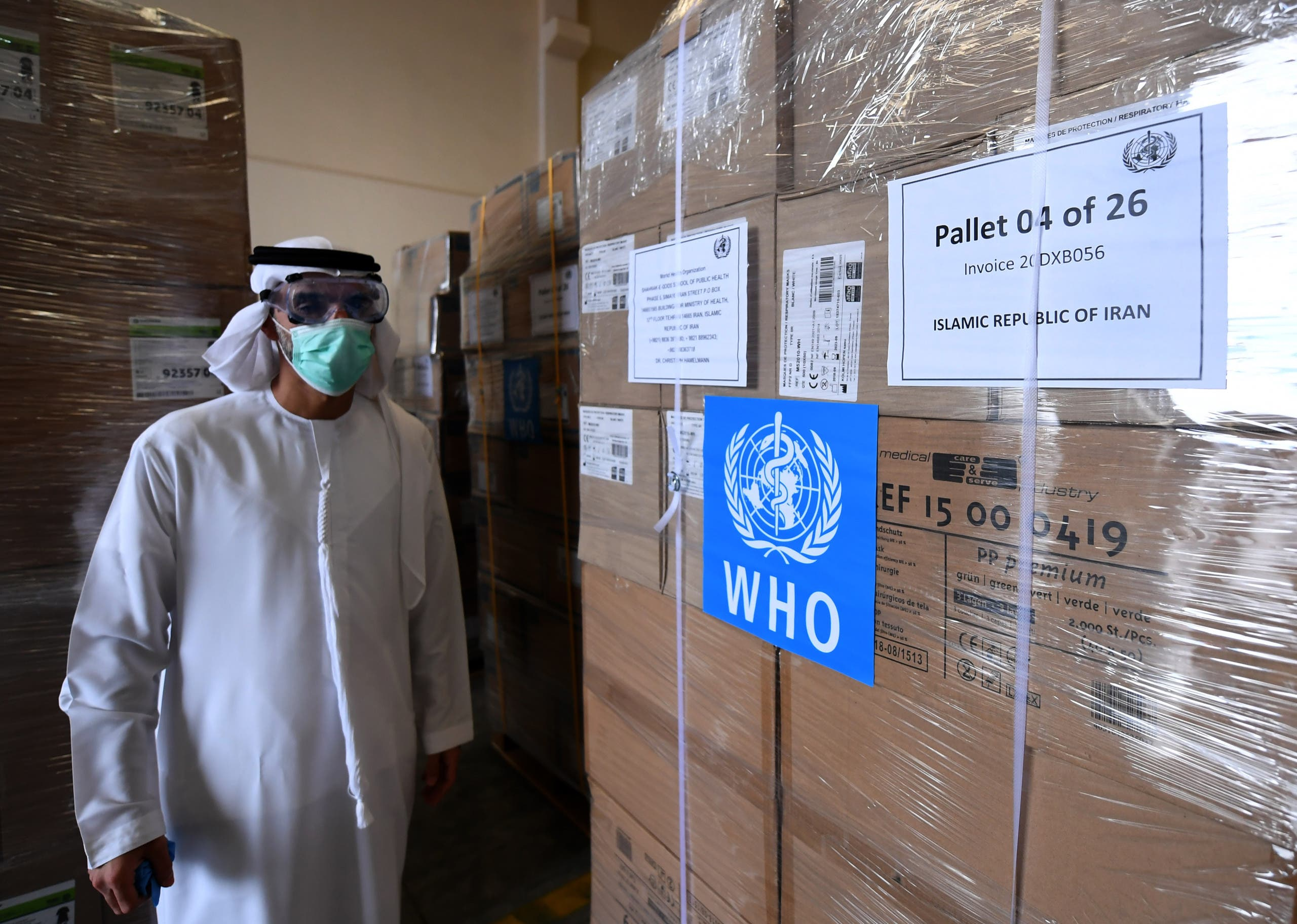 Medical equipment and coronavirus testing kits provided by the World Health Organization are pictured at the al-Maktoum International airport in Dubai on March 2, 2020 as it is prepared to be delivered to Iran with a United Arab Emirates military transport plane. (AFP)