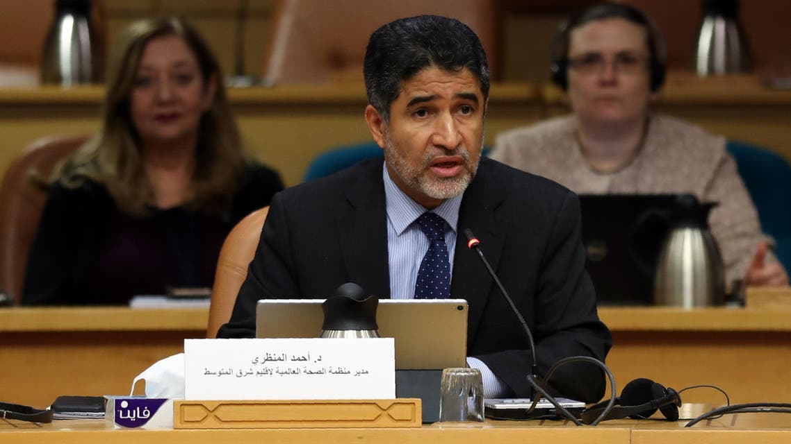 Ahmed al-Mandhari, WHO regional director for the Eastern Mediterranean, speaks during a press briefing at the World Health Organisation's regional office in the Egyptian capital Cairo on February 19, 2020, following the outbreak of the deadly coronavirus. (AFP)