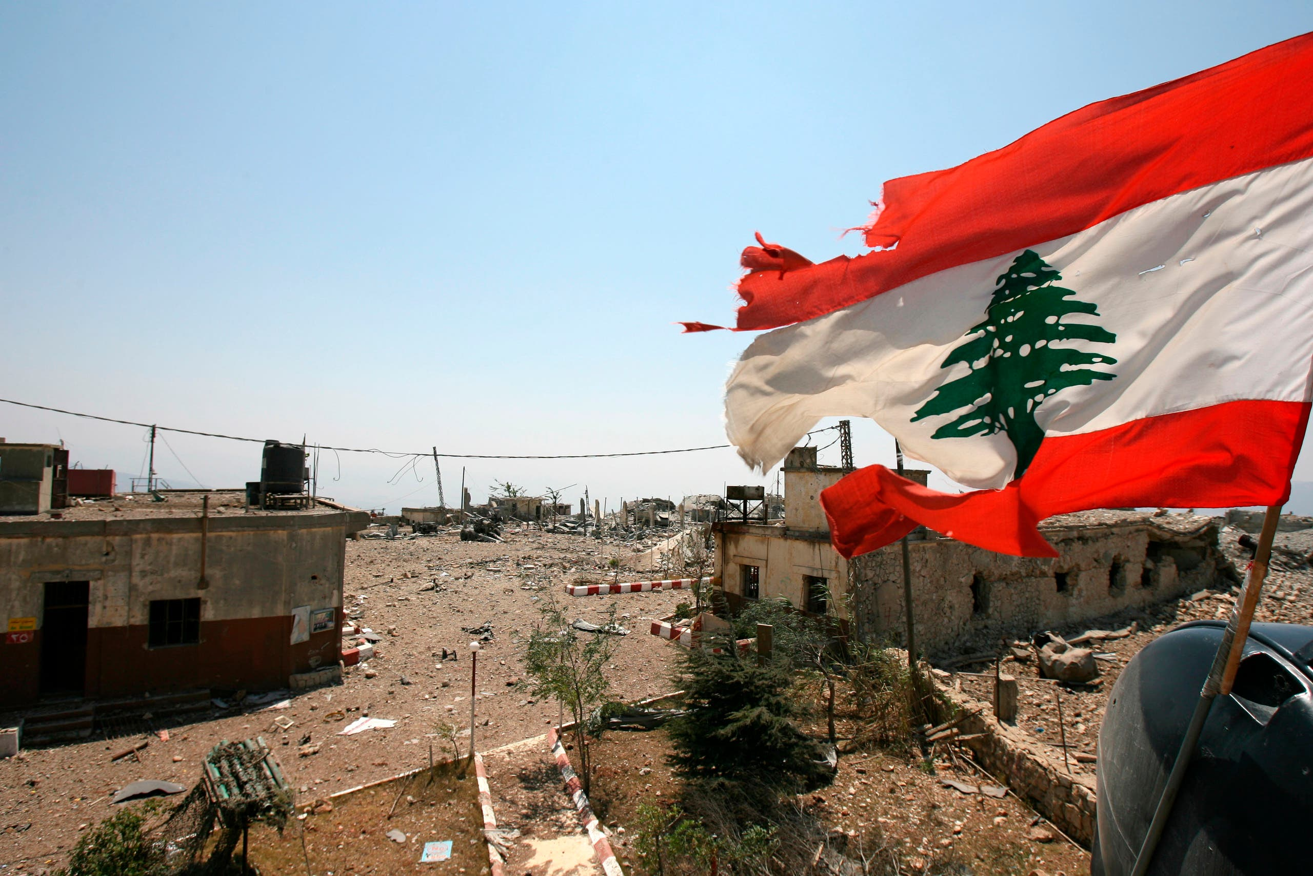 A Lebanese flag flies over Khiam prison, in the southern town of Khiam, Lebanon. (AP)