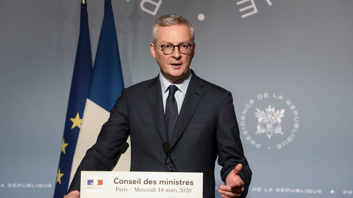 French Economy and Finance Minister Bruno Le Maire gives a press after a cabinet meeting in Paris Wednesday, March 18, 2020. (AP)