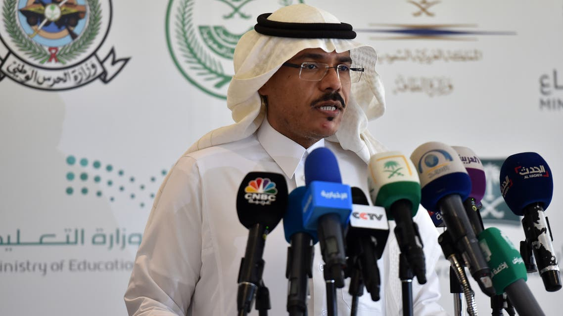 Mohammed Alabed Alali, Saudi Arabia's health minstry spokesman, addresses reporters during a press briefing about COVID-19 coronavirus disease, in the capital Riyadh on March 8, 2020 Saudi authorities on March 8 cordoned off the eastern Qatif region in a bid to contain the fast-spreading coronavirus, the interior ministry said. The kingdom has expressed alarm over the spread of the disease across the Gulf region, which has confirmed more than 230 coronavirus cases.