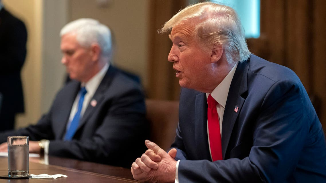 US President Donald Trump speaks about the coronavirus in the Cabinet Room of the White House during a meeting with representatives of American nurses, Wednesday, March 18, 2020, in Washington. (AP)