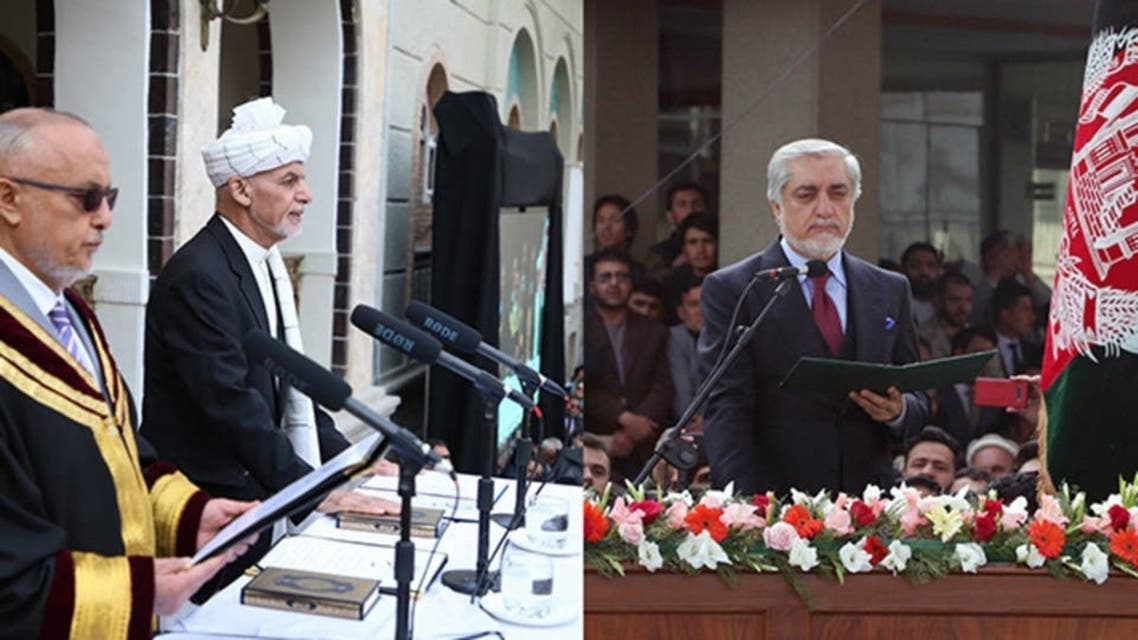 Ghani and Abdullah in their ceremonies
