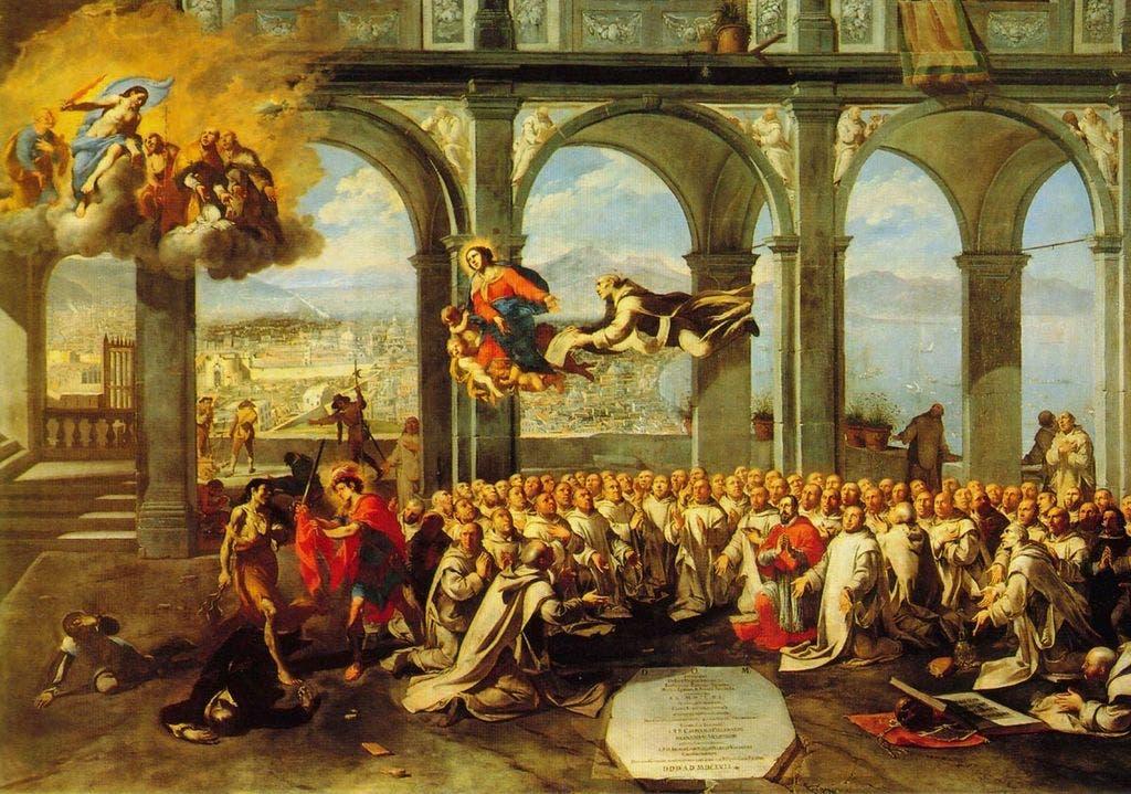 لوحة للرسام الإيطالي ميكو سبادارو رسمت عام 1657 لتخليد ذكرى الطاعون الذي حل بنابولي