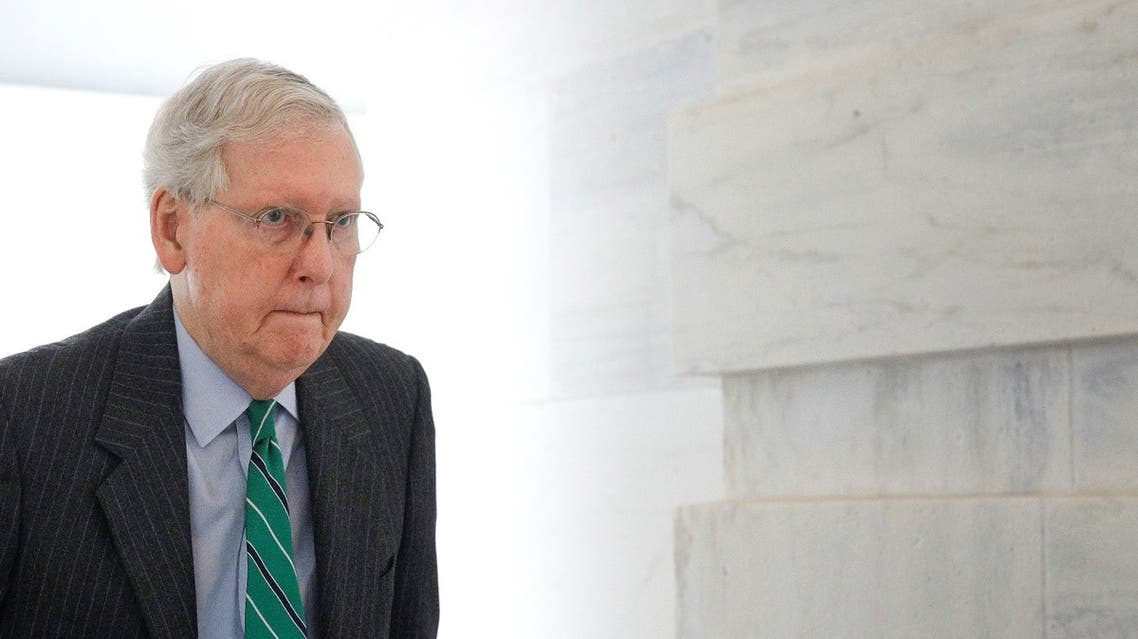 Senate Majority Leader Mitch McConnell (R-KY) enters the US Capitol ahead of a Senate lunch meeting on response to the coronavirus disease (COVID-19) on Capitol Hill in Washington, US, March 19, 2020. (Reuters)