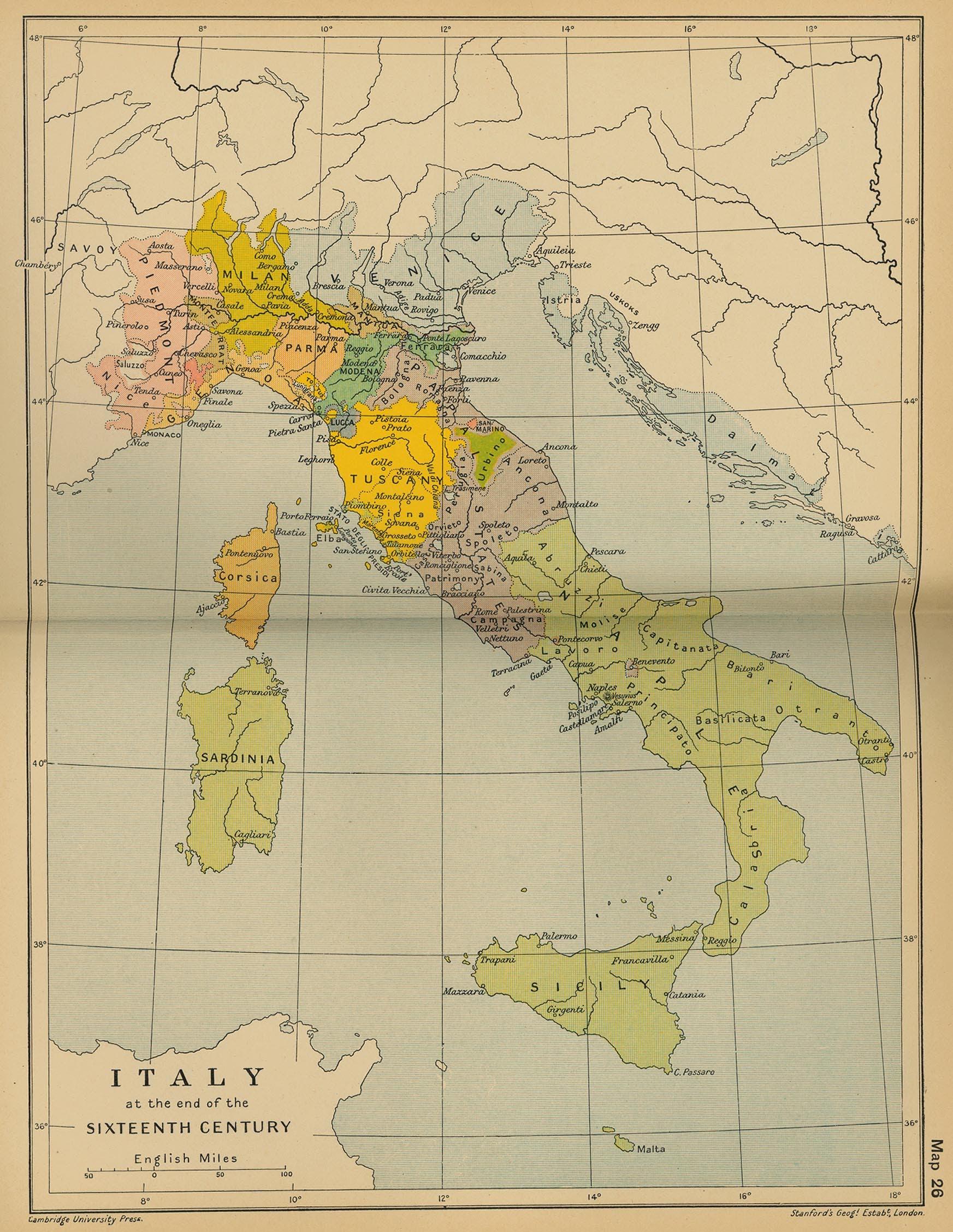 خريطة إيطاليا أواخر القرن السادس عشر