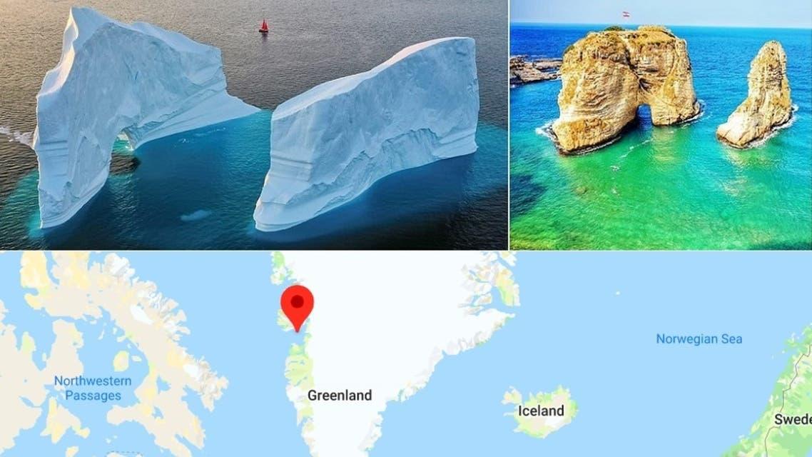 صخرة بيروت وجارتها الصغيرة، ومن الخلف جبل غرينلاند الجليدي وجاره الصغير، واشارة بالأحمر لخليج باي