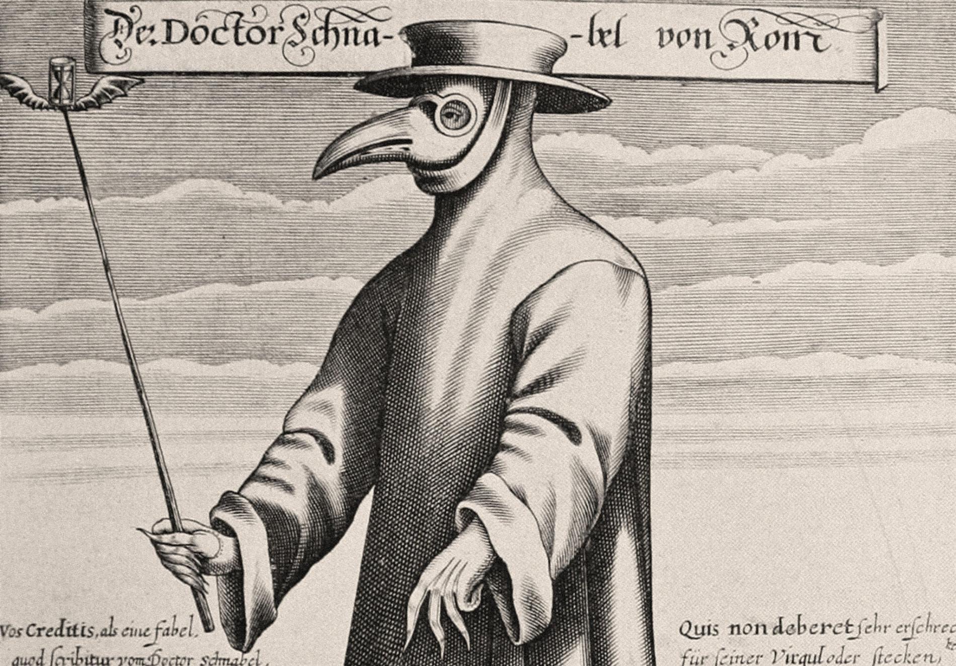 رسم تخيلي يجسد أحد الأطباء خلال فترة الطاعون
