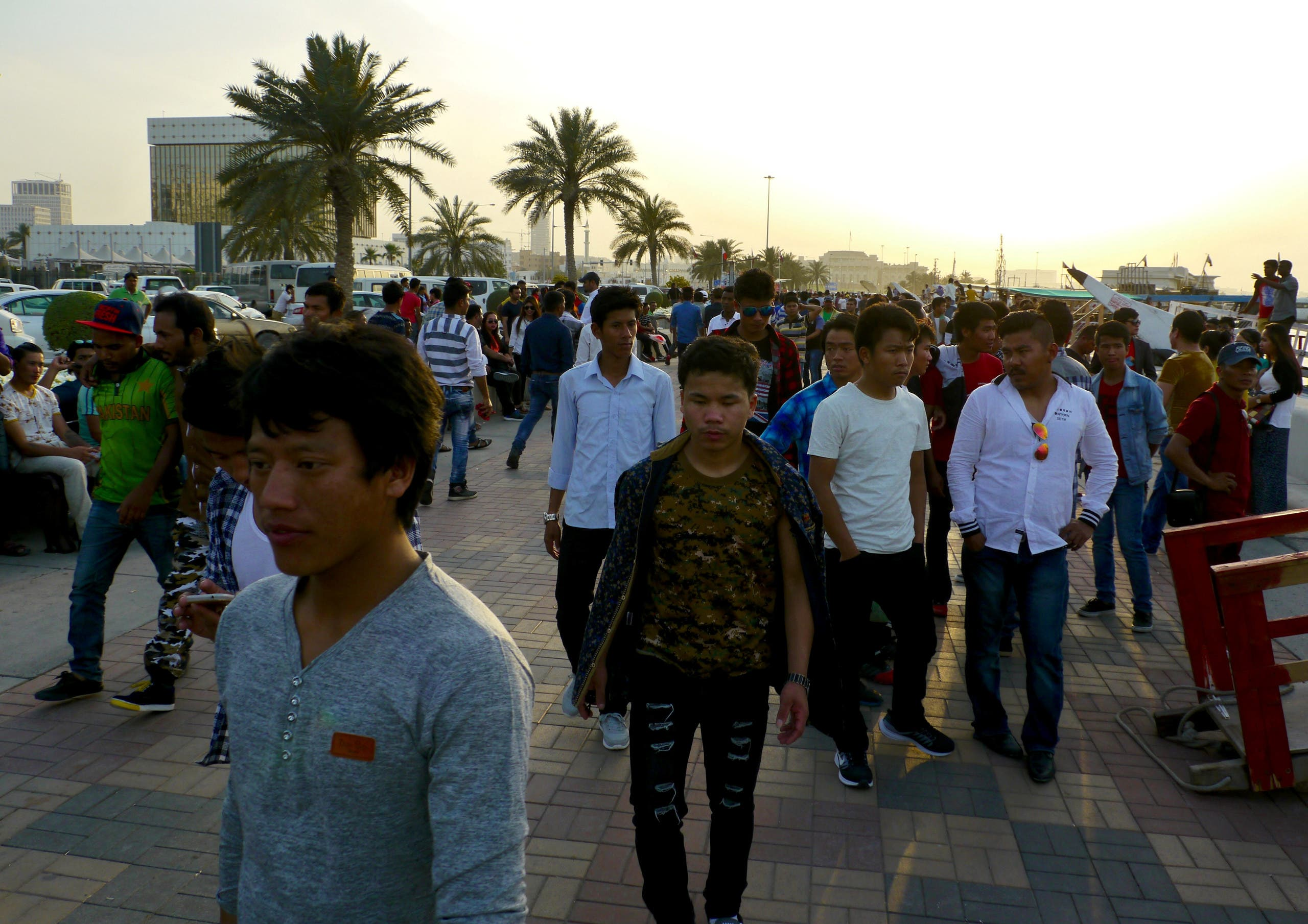 Migrant workers on the corniche in Doha, Qatar. (File photo: Reuters)