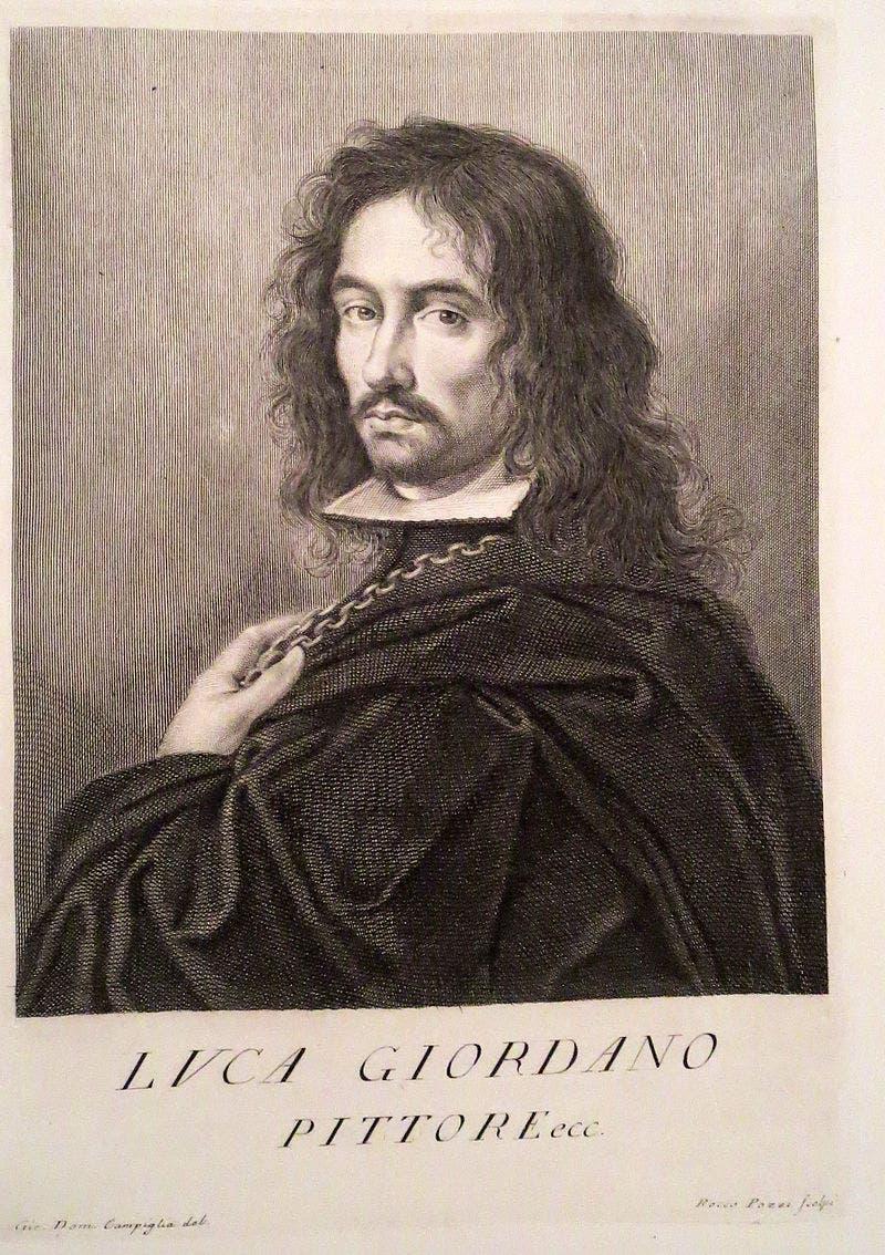رسم يجسد شخصية الرسام الباروكي لوكا جيوردانو
