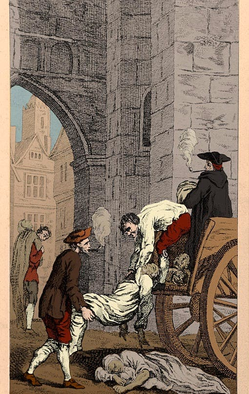 رسم تخيلي لعملية نقل جثث ضحايا طاعون لندن عام 1665
