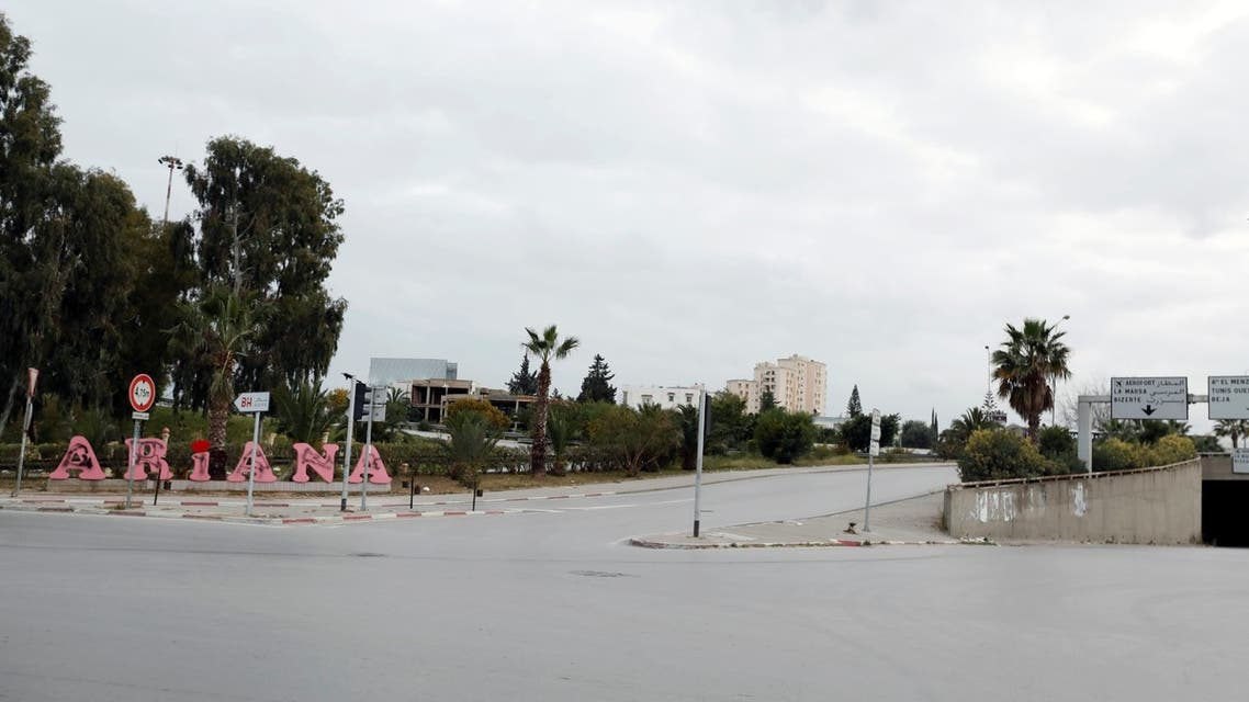 A general view shows empty streets at the entrance of Ariana city during a curfew to counter the spread of the coronavirus, near Tunis, Tunisia, March 18, 2020. (Reuters)