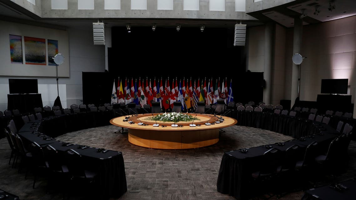General view of the meeting room where the postponed First Ministers Meeting was to take place in Ottawa. (Reuters)