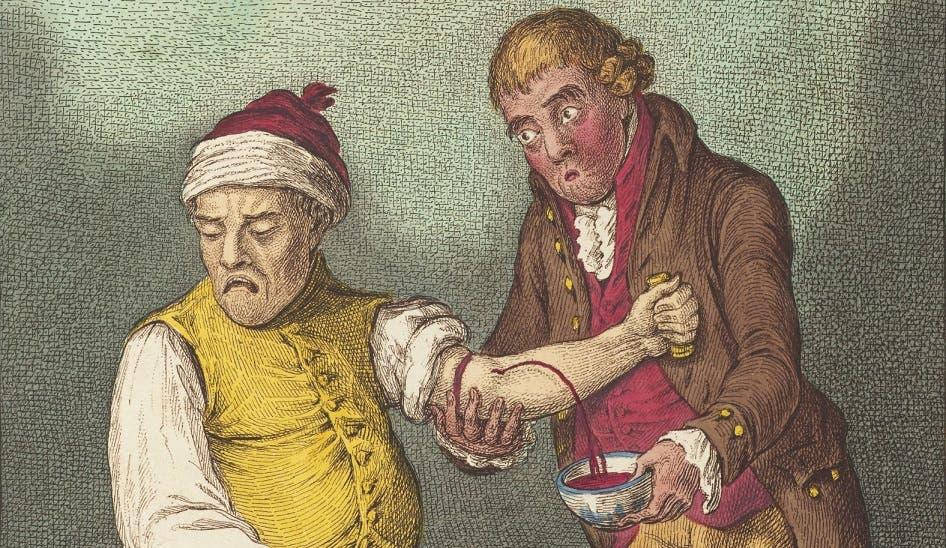 رسم تخيلي يجسد إحدى طرق العلاج بالفصد قديماً