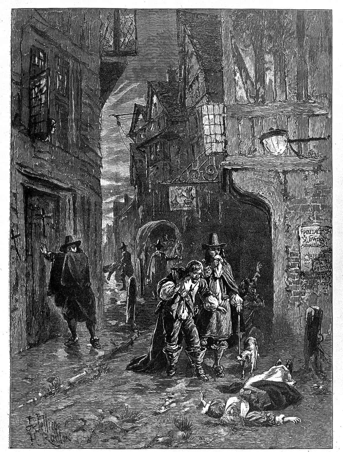رسم تخيلي يجسد انتشار جثث الموتى بشوارع لندن