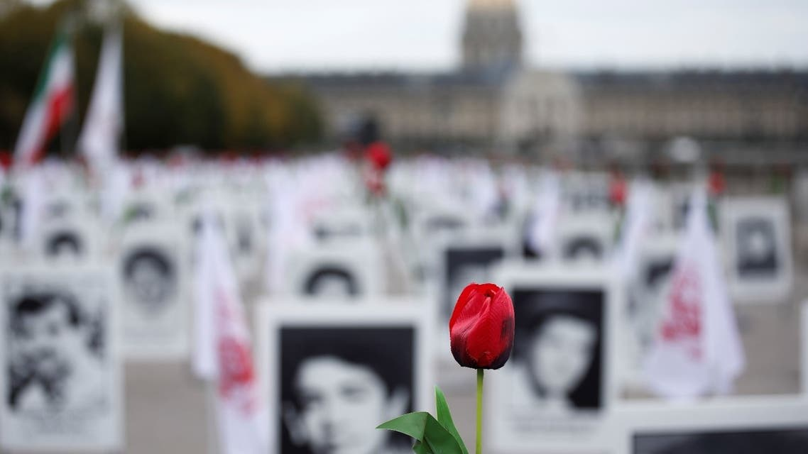 A memorial exhibition featuring Iranian political prisoners and organised by opposition group the People's Mujahedin Organization of Iran is seen on the Esplanade des Invalides in Paris, France, October 29, 2019
