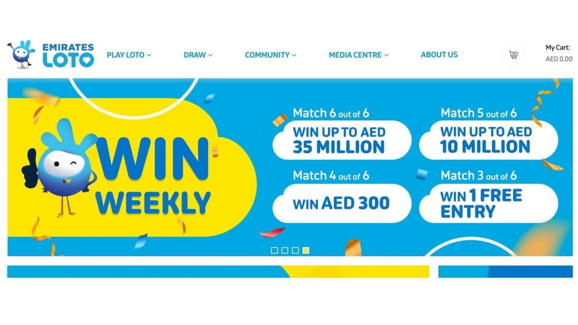 A screenshot of Emirates Loto's homepage. (Screengrab)