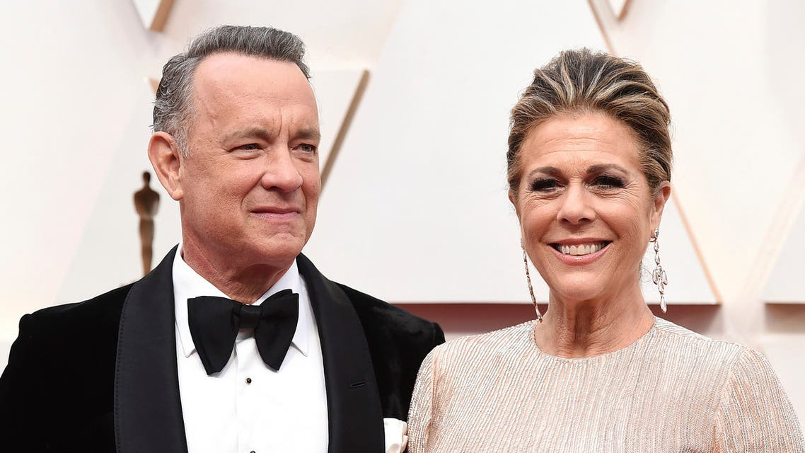 Tom Hanks, left, and Rita Wilson arrive at the Oscars at the Dolby Theatre in Los Angeles. (AP)