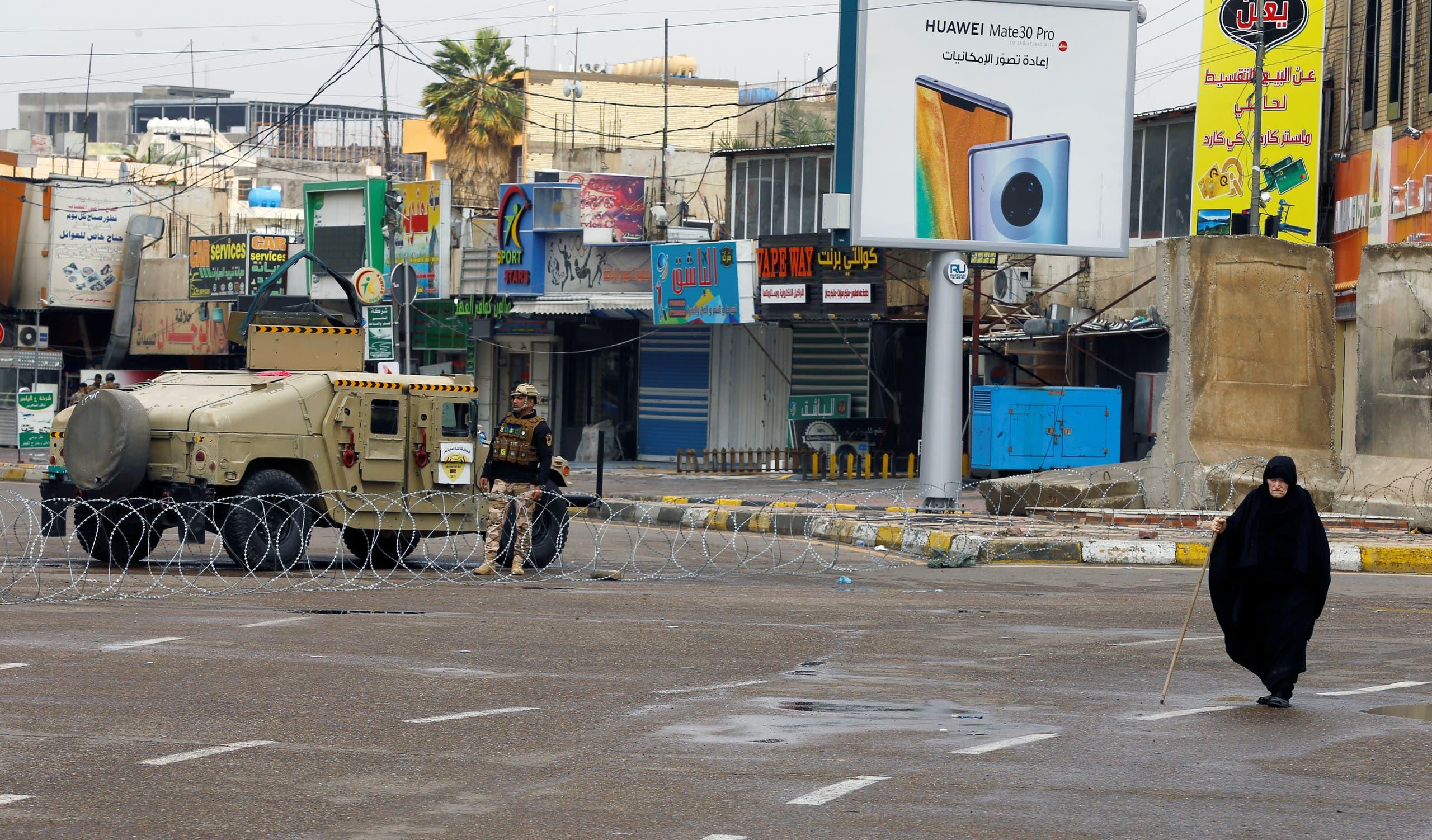 الجيش يراقب منع التجول في بغداد