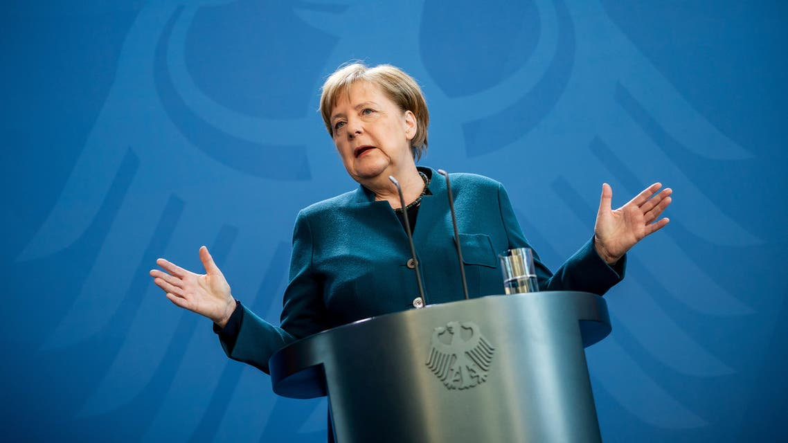 German Chancellor Angela Merkel gives a media statement on the spread of the new coronavirus disease (COVID-19) at the Chancellery in Berlin, Germany, March 22, 2020. Michel Kappeler/Pool via REUTERS TPX IMAGES OF THE DAY