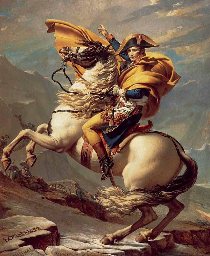 لوحة تجسد نابليون بونابرت ممتطيا حصانه