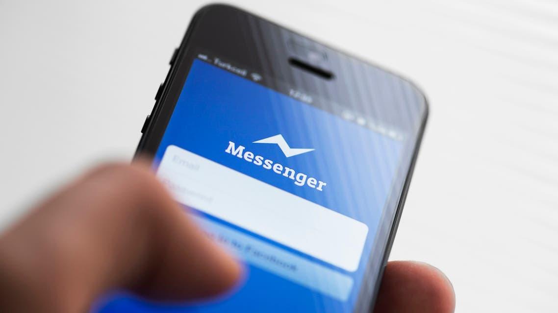Facebook messenger app on Apple iPhone 5 stock photo