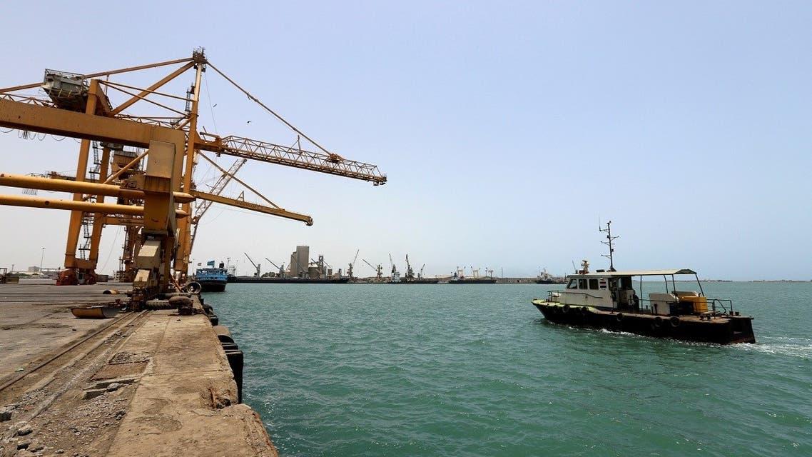 A ship is seen at Hodeidah port in Hodeidah, Yemen May 13, 2019. REUTERS/Abduljabbar Zeyad