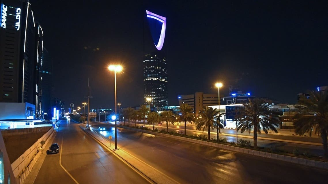 A picture taken on March 23, 2020, shows the empty King Fahd road in the Saudi capital Riyadh. (AFP)