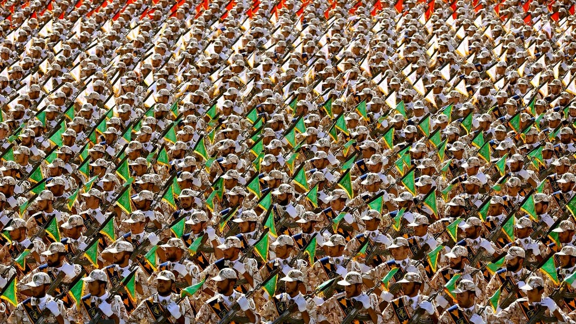In this September 22, 2014 file photo, members of the Iran's Revolutionary Guard march during an annual military parade at the mausoleum of Ayatollah Khomeini, outside Tehran, Iran. (AP File photo)