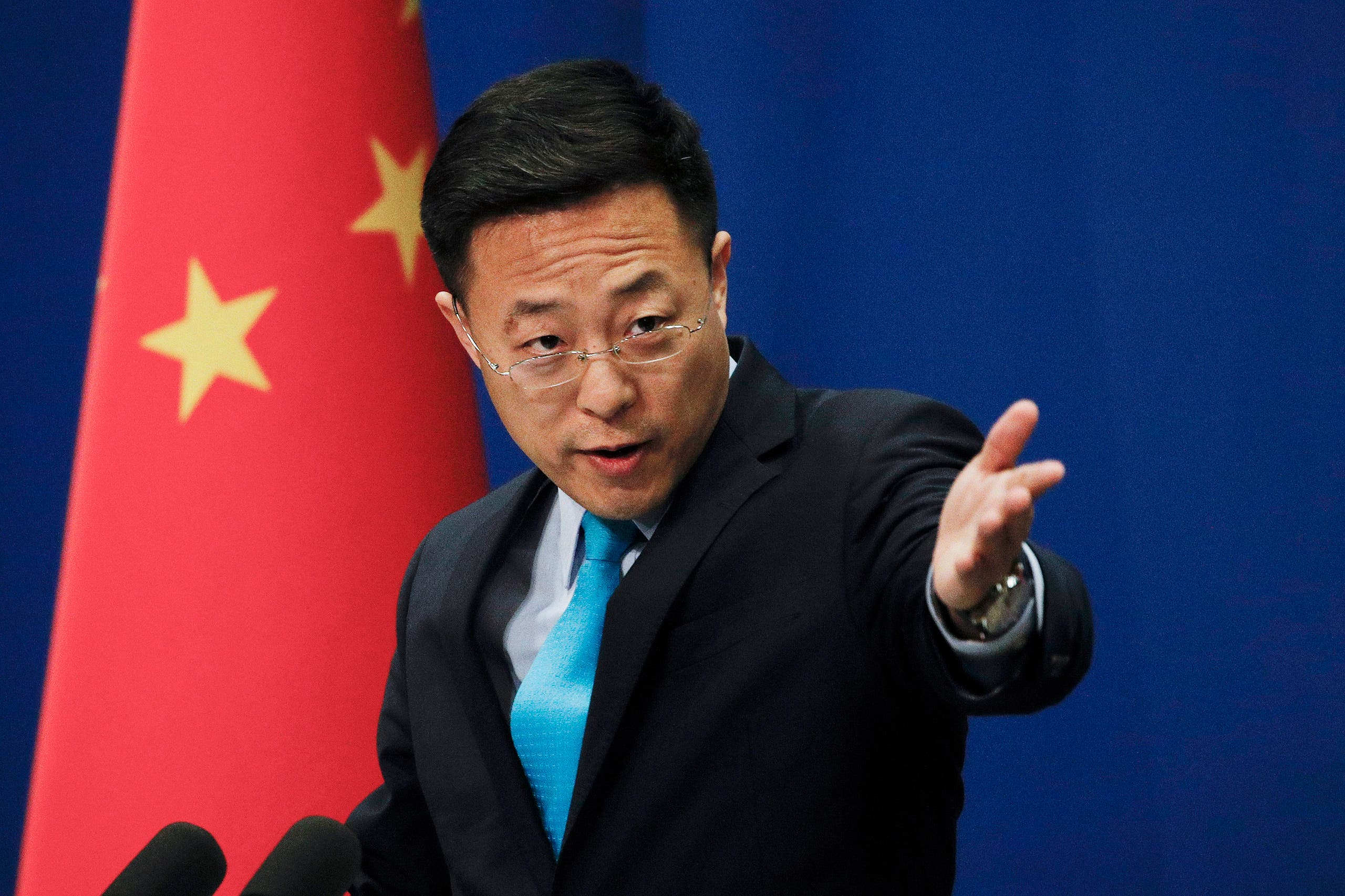 Chinese Foreign Ministry spokesman Zhao Lijian speaks during a daily briefing at the Ministry of Foreign Affairs office in Beijing on Feb. 24, 2020. (AP)