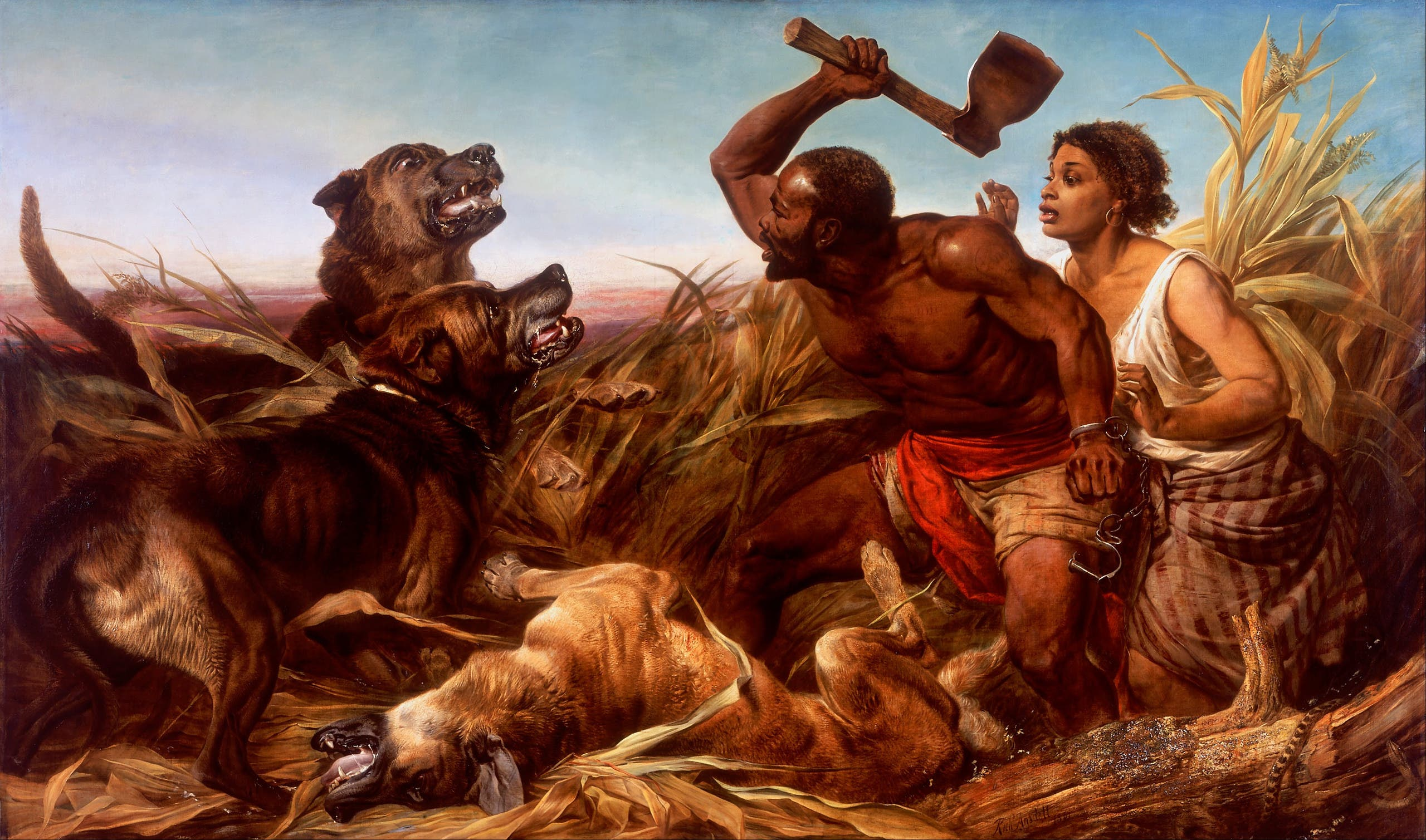 لوحة تجسد كلابا خلال مهاجمتها لأحد الأشخاص