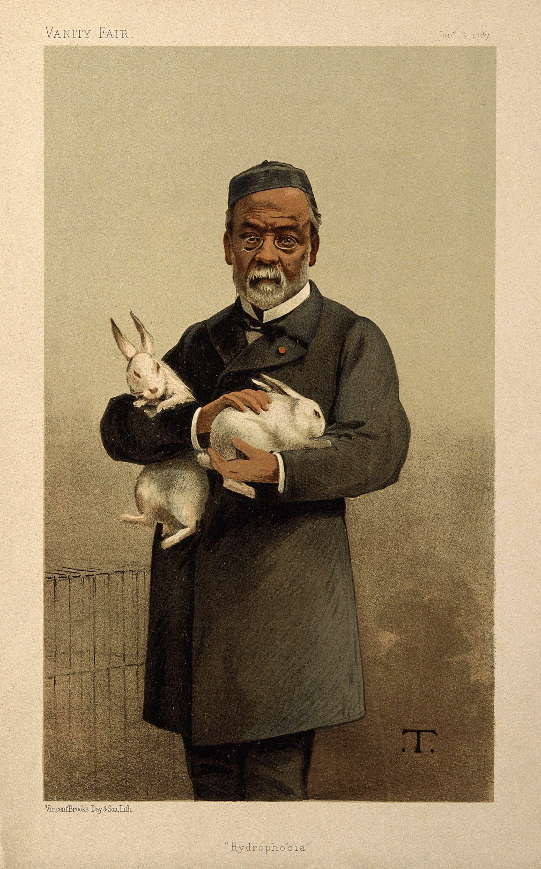 لوحة تجسد باستور رفقة عدد من الأرانب