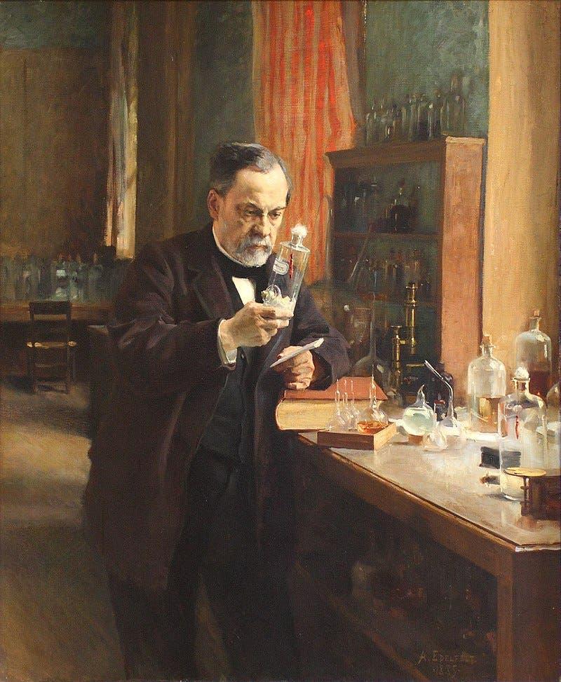 لوحة تجسد لويس باستور بمختبره عام 1885
