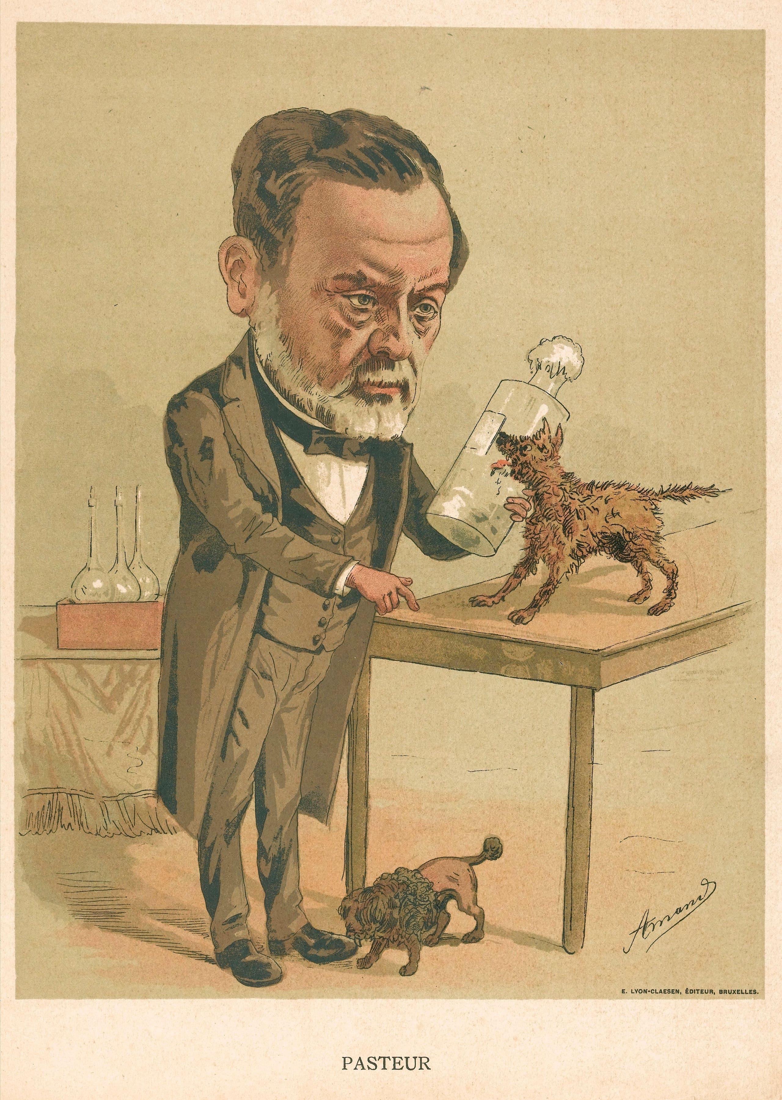رسم كاريكاتيري ساخر يجسد باستور أثناء أبحاثه حول داء الكلب