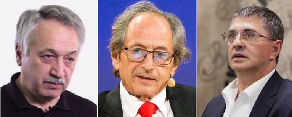 من اليمين ألكسندر مياسنيكوف والأميركي- البريطاني مايكل ليفيت، ثم سيرغي كيسليف