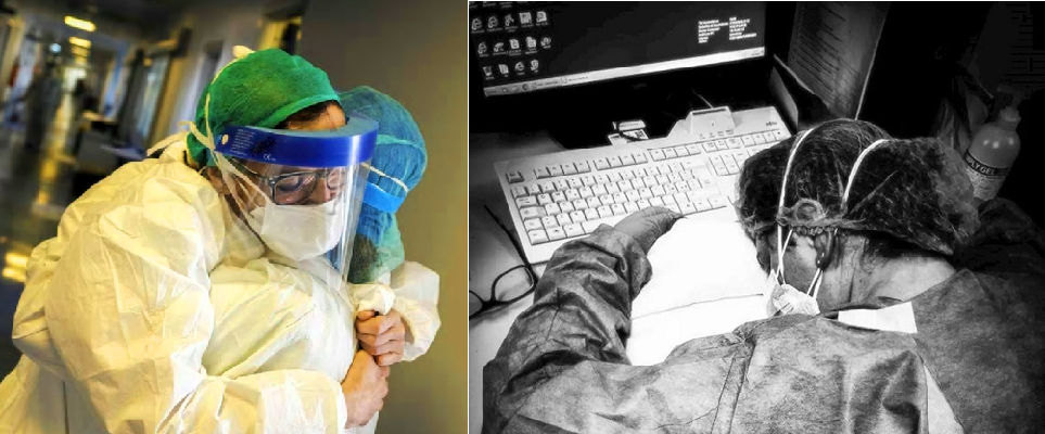 أرخت الممرضة رأسها لتنام على الكيبورد، وأخرى ودعت زميلتها بعبطة حارة