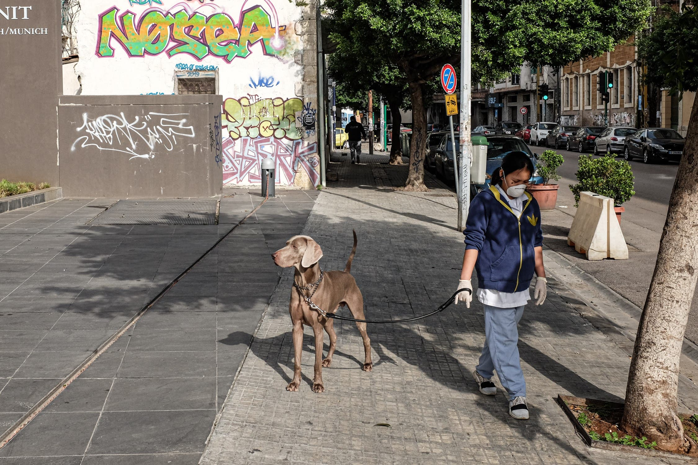 A masked domestic worker walks a dog along a quiet street in the Mar Mikhael district of Beirut. (Finbar Anderson)