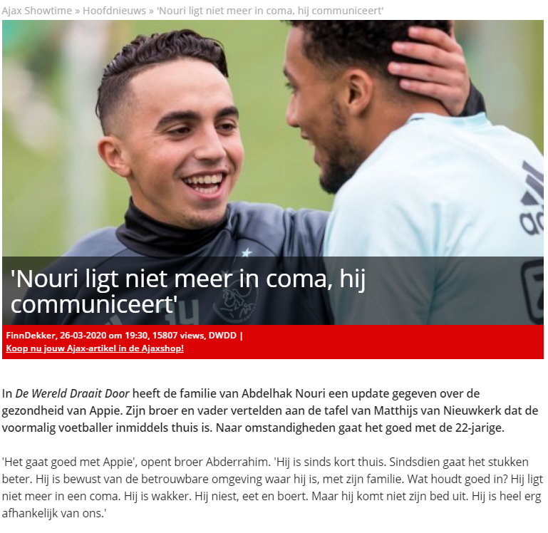 Ajax Showtime, reporting the news of Nuri Wake