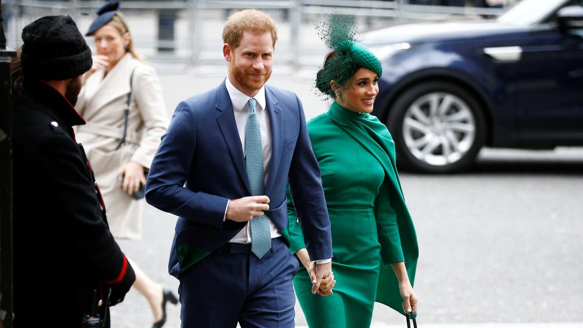 Britain's Prince Harry and Meghan, Duchess of Sussex, arrive for the annual Commonwealth Service at Westminster Abbey in London, Britain March 9, 2020. (Reuters)