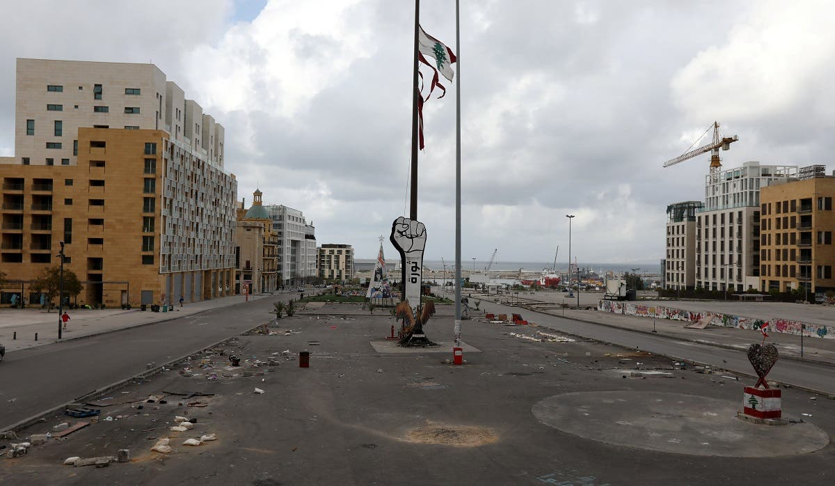 A general view shows an empty area around Martyrs' Square after Lebanese security forces cleared away a protest camp and reopened roads in Beirut, Lebanon. (Reuters)