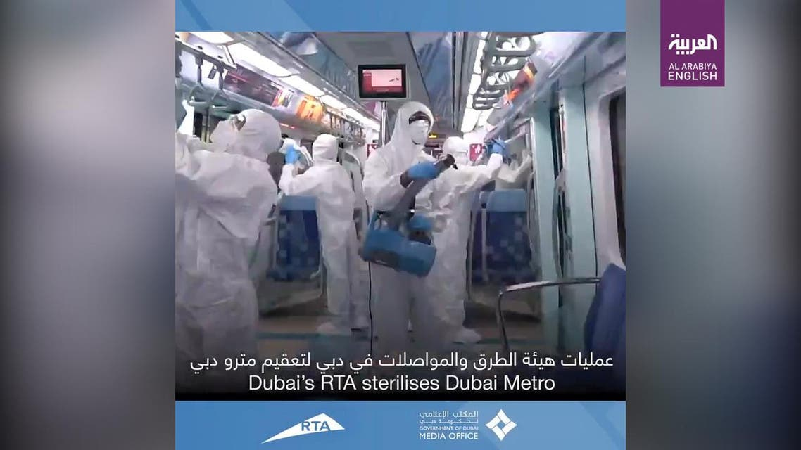 THUMBNAIL_ Dubai authorities sanitize metro, taxis during weekend campaign