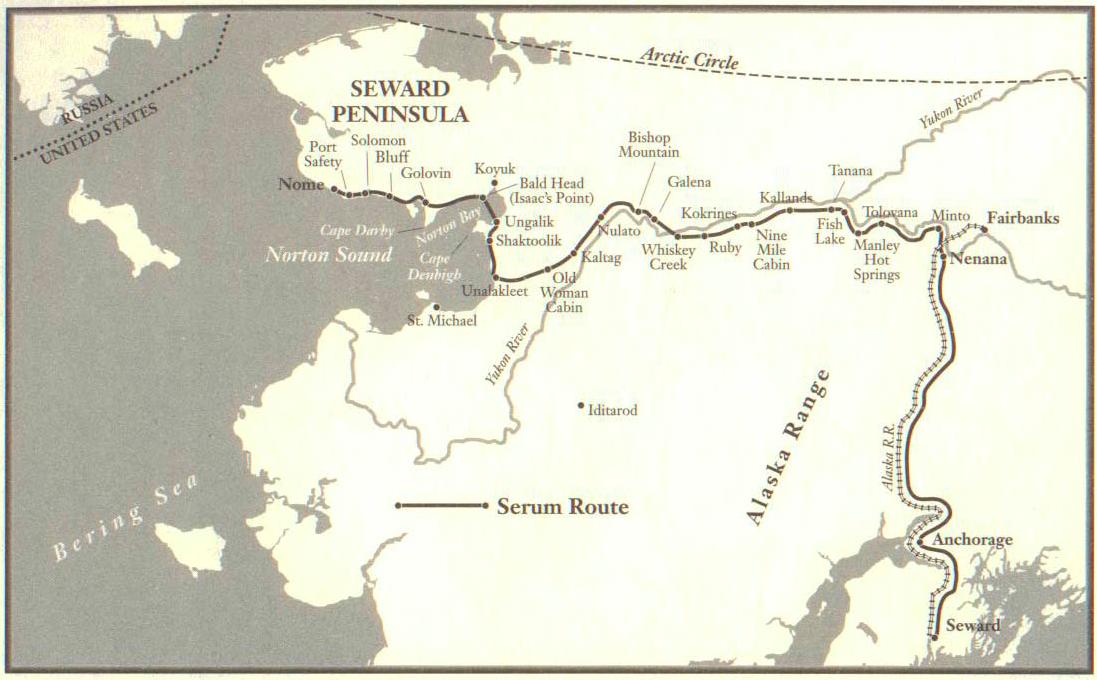 خريطة تبرز الطريق التي سلكها المصل المضاد قبل بلوغه مدينة نوم