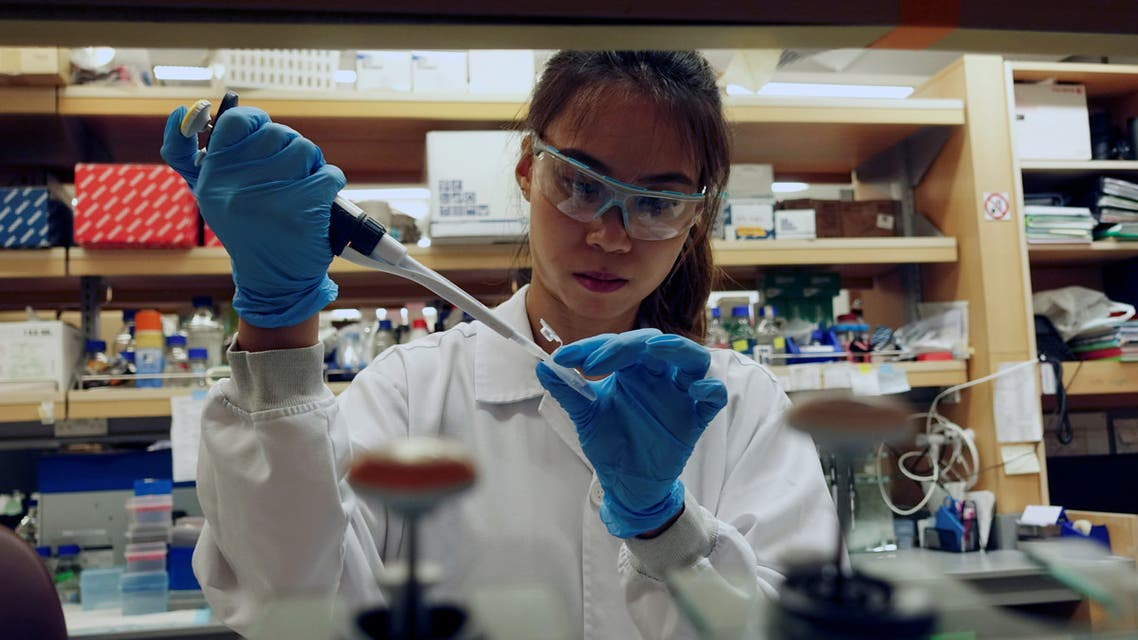 A researcher works in a lab at the Duke-NUS Medical School, which is developing a way to track genetic changes that speed testing of vaccines against the coronavirus disease (COVID-19), in Singapore. (Reuters)