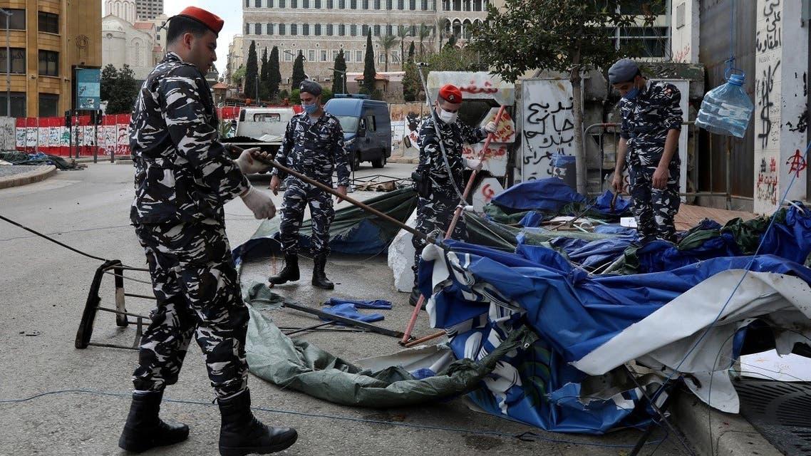 Beirut protest camp  - Reuters