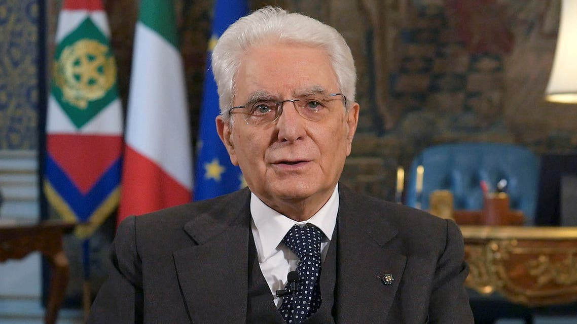 Italian President Sergio Mattarella speaks during a rare televised address to the nation as Italy battles a spread of coronavirus disease (COVID-19) in Rome, Italy, March 27, 2020. Presidential Palace/Handout via REUTERS ATTENTION EDITORS - THIS IMAGE HAS BEEN SUPPLIED BY A THIRD PARTY.