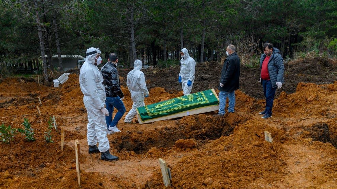 دفن أحد مصابي كورونا في اسطنبول (أرشيفية- فرانس برس)