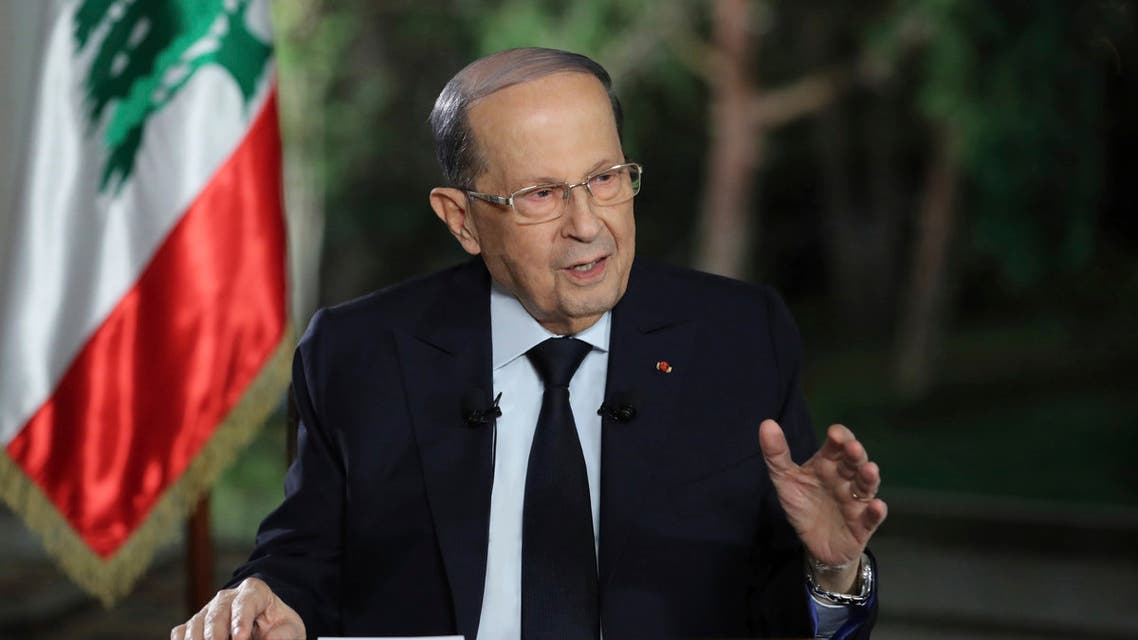 Lebanese President Michel Aoun speaks during a TV interview at the presidential palace, in Baabda, east of Beirut, Lebanon, Tuesday, Nov. 12, 2019. (AP)