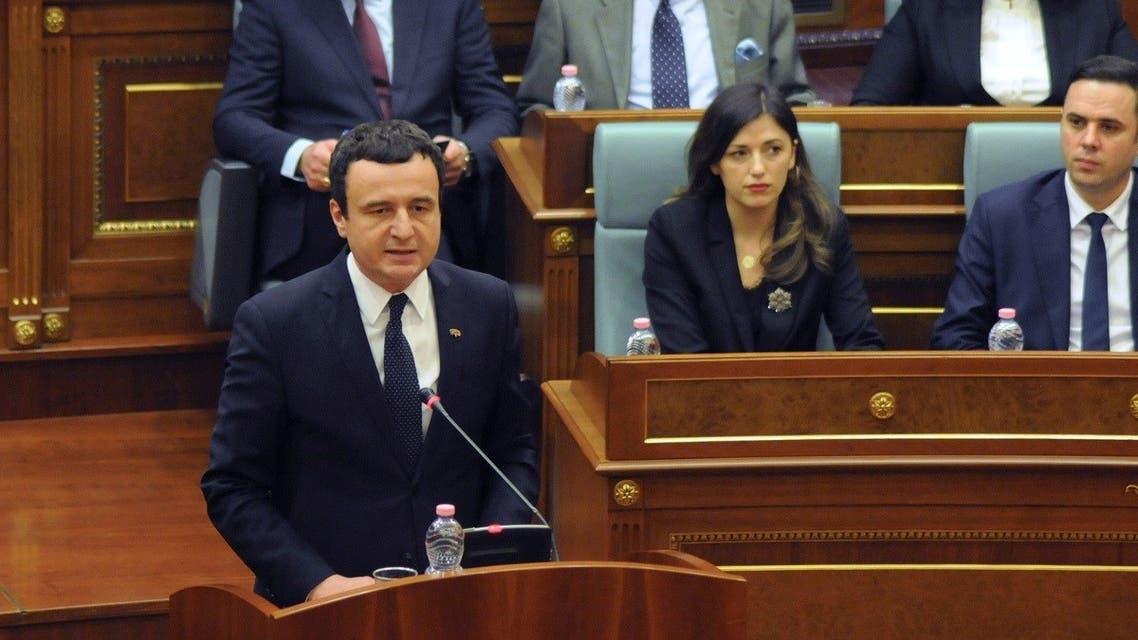 Prime Minister of Kosovo Albin Kurti delivers his speech during a parliament session in Pristina, Kosovo. (File photo: Reuters)