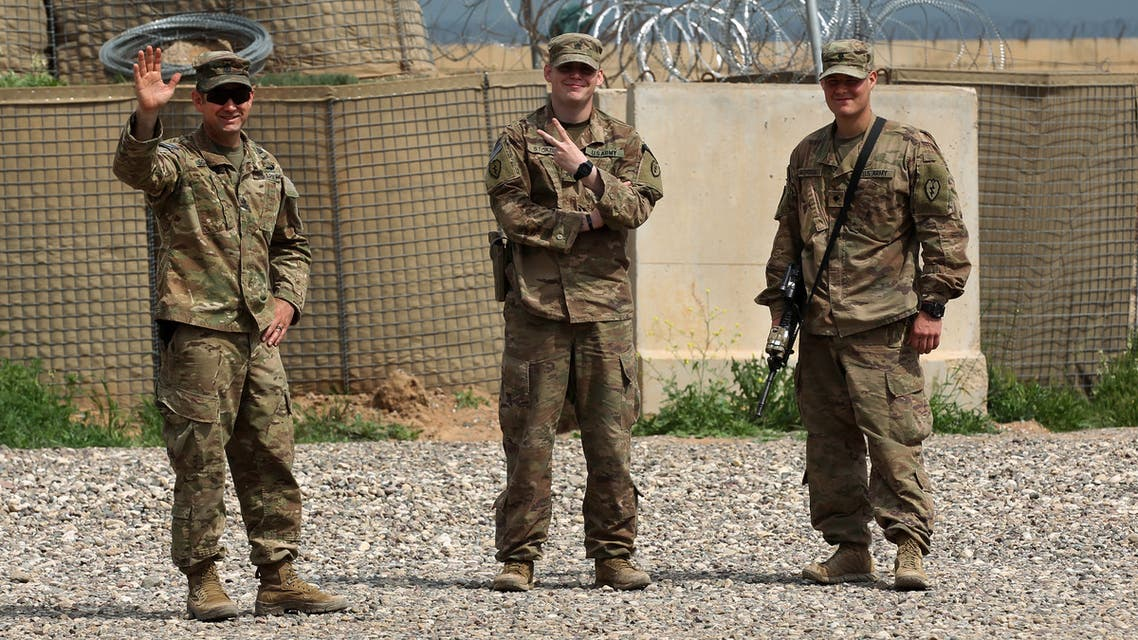 US soldiers are pictured at the Qayyarah air base, Iraq, March 26, 2020. (AFP)